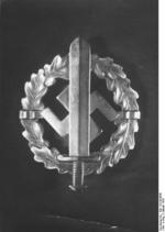 Close-up of a German Nazi Party SA insignia, 22 Jan 1939