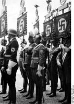 Nazi Party members in formation during a party rally, Nürnberg, Germany, 6 Sep 1938