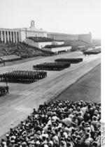 Nazi Party Reichsarbeitsdienstes (Reich Labor Service) men in parade at Zeppelin Field, Nürnberg, Germany, Sep 1937