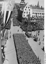 SA and SS men marching during a Nazi Party rally in Nürnberg, Germany, 10 Sep 1934
