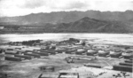 Barracks and recreation field at Kaneohe Naval Air Station, Oahu, US Territory of Hawaii, date unknown