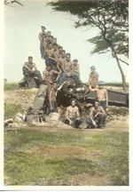 Men of the US Army 11th Field Artillery Regiment sitting on a gun, US Territory of Hawaii, 18 May 1938