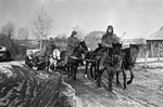 Troops of Soviet 144th Division on the move northwest of Vyazma, Russia, 1 Mar 1943; note ZiS-3 field gun barely visible, being towed by the horses