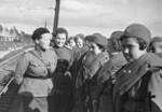 Soviet sniper Ekaterina Nikiforova Nikiforovna speaking to female sniper trainees, 1 Apr 1943