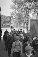 Russian conscripts entering the Voroshilov Barracks in Moscow, Russia, 23 Jun 1941