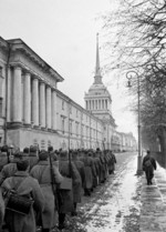 Conscripts of the Soviet Universal Military Training program marching in Leningrad, Russia, 9 Oct 1941