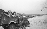 Abandoned German vehicles on the Volokolamsk Highway near Moscow, Russia, 5 Dec 1941