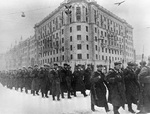 Soviet troops marching on Gorky Street, Moscow, Russia, 1 Dec 1941