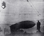 Barrage balloon near the Pushkin Monument in Moscow, Russia, 19 Jul 1942