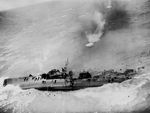 Japanese Type-C Escort Vessel No. 1 sinking in Taiwan Strait south of Amoy (Xiamen), China, 6 Apr 1945, having attacked by US B-25J (44-29600; 2Lt Francis A. Thompson) of 499th