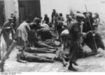 Civilians identifying victims of the Soviets, Tarnopol, Poland (now Ternopil, Ukraine), 10 Jul 1941
