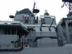 CIWS gun, Harpoon missile launchers, and secondary gun turret of New Jersey, 14 Jun 2004