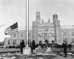 Raising the flag at US Naval Training Center, Hunter College, Bronx, New York, United States, 8 Feb 1943; the location was dedicated to the training of women for the US Navy and Coast Guard