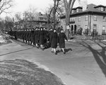 WAVES officers marching at the intersection of Garden and Chauncy Streets in Cambridge, Massachusetts, United States, circa 1943
