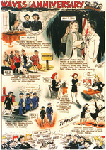 Cartoon by Sixta depicting events and activities in the first year following the 30 Jul 1942 authorization of the US Navy WAVES program