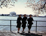 WAVES personnel standing by the north side of the Tidal Basin, overseeing the Jefferson Memorial, Washington, D.C., United States, circa 1943-1945