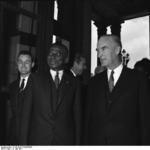 The President of the Republic of Togo, Sylvanus Olympio, visiting the Villa Hügel in Essen, accompanied by Alfried Krupp, North Rhine-Westphalia, Germany, 17 May 1961