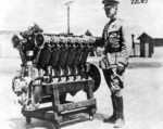 Major Henry Arnold with the first Liberty V-12 engine, circa 1917-1918