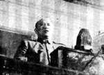 Chinese Minister of National Defense Bai Chongxi delivering his report to the First National Assembly at the National Assembly Building, Nanjing, China, 29 Mar-1 May 1948
