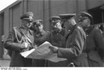German Generals Blaskowitz and Weichs studying a map in Warsaw, Poland, Sep-Oct 1939, photo 3 of 3