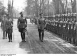 Field Marshal Werner von Blomberg and Colonel General Hans von Seeckt being saluted by honor guards of German 67th Infantry Regiment, 22 Apr 1936; that day was Seeckt