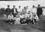 Group portrait of the United States Military Academy baseball team, West Point, New York, United States, 1914; note Omar Bradley front row third from the left.