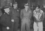 Omar Bradley, Arthur Tedder, Dwight Eisenhower, and Bernard Montgomery at Maastricht, Netherlands, 7 Dec 1944