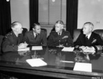 Omar Bradley, Hoyt Vandenberg, Lawton Collins, and Forrest Sherman at a US Joint Chiefs of Staff meeting at the Pentagon building, Arlington, Virginia, United States, 22 Nov 1949