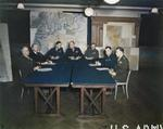Bradley, Ramsay, Tedder, Eisenhower, Montgomery, Leigh-Mallory, and Smith at a SHAEF conference in London, England, United Kingdom, 1 Feb 1944, photo 3 of 7
