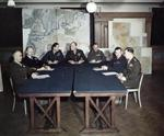 Bradley, Ramsay, Tedder, Eisenhower, Montgomery, Leigh-Mallory, and Smith at a SHAEF conference in London, England, United Kingdom, 1 Feb 1944, photo 4 of 7