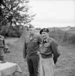 Omar Bradley and Bernard Montgomery at headquarters of British 21st Army Group, Normandie, France, 13 Jul 1944