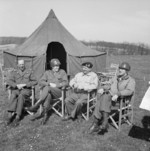 Miles Dempsey, Omar Bradley, Bernard Montgomery, and William Simpson, 11 Apr 1945