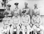Burke (right center) with his US Navy Destroyer Squadron 23 captains, Solomon Islands, 1943