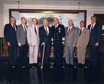 US Navy Chiefs of Naval Operations: Trost, Hayward, Zumwalt, Burke, Kelso, Moorer, Holloway, and Watkins at the Pentagon, Arlington, Virginia, United States, 19 Oct 1990