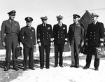 UN delegates to the armistice negotiations: Major General Turner, Major General Lee, Vice Admiral Joy, Rear Admiral Libby, Major General Hodes, and Rear Admiral Burke. Panmunjom, Korea, 30 Nov 1951