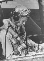 George Bush in the cockpit of his TBF Avenger torpedo bomber, mid-1944