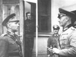 Slovakian General Ferdinand Catlos speaking with German General Erwin Engelbrecht, circa Sep 1939