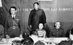 Claire Chennault, Song Meiling, and Chiang Kaishek at a banquet, China, 4 Jun 1942