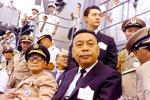 Chiang Kaishek and Chiang Ching-kuo aboard USS Enterprise, 1966