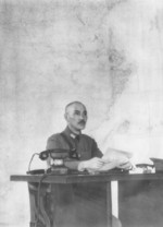 Chiang Kaishek at a desk, probably in Hankou, Hubei Province, China, circa Apr 1938