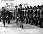 Chiang reviewing troops at the National Wuhan University, China, Dec 1937
