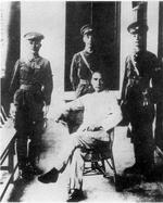 Dr. Sun Yatsen (seated) posing with He Yingqin, Chiang Kaishek, and Wang Boling, Whampoa Military Academy, Guangzhou, Guangdong Province, Republic of China, 16 Jun 1924