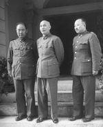 Fu Zuoyi, Chiang Kaishek, and Wei Lihuang in Beiping, China, Nov 1948