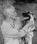 Chiang Kaishek with his pet German Shepherd dog, Taiwan, circa 1960s