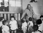 Chiang Kaishek visiting a school, Taiwan, Republic of China, date unknown