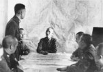 Chiang Kaishek at a military planning session, circa 1938-1940; note He Yingqin to Chiang