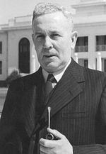 Prime Minister Ben Chifley outside the Provisional Parliament House in Canberra, Australia, 1948