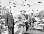 Prime Minister Ben Chifley, Governor-General William McKell, and Minister for Works and Housing Nelson Lemmon at the official launch of the Snowy Mountains Hydro project at Adaminaby, Australia, 17 Oct 1949