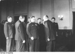 Otto Grotewhol, Luitpold Steidle, and Vasily Chuikov at the founding of East Germany, Berlin, 7 Oct 1949