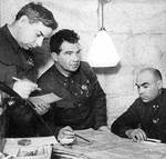 General Chuikov meeting with his chief of staff N. I. Krilov and council K. L. Gurov, Stalingrad, Russia, circa 1942-1943